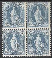 14 Vertikalzähne KZ II 1901: Zu 73E Mi 67D Yv ?? - 25c Blau Im Block (*) Ohne Gummi  (Zu CHF 120.00 Für *) - 1882-1906 Wappen, Stehende Helvetia & UPU
