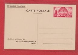 Entier Postal Spécial / 400 - CP 2 / Mémorial Australien De Villers Bretonneux / NEUF