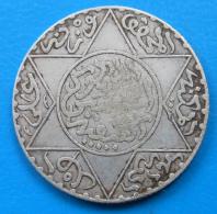 Colonies Maroc Morocco 2 1/2 Dirhams 1/4 Rial Argent AH1312 1894 1895 Lec.136 Y.6 - Maroc