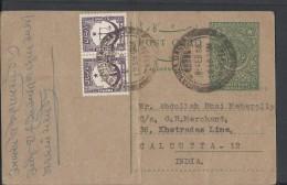 Pakistan 1956 9p Prepaid Used POST CARD Sent To Calcutta -12 India - Pakistan
