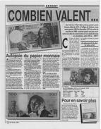 2 PAGES 37X29CM BON ETAT ARTICLE DU JOURNAL LE MEILLEUR 1991 COMBIEN VALENT CES BILLETS DE BANQUE TRES RARE DOCUMENT - Werbung