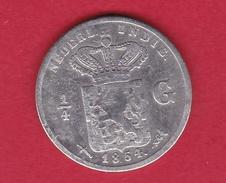 Indes Néerlandaises - 1/4 Gulden - Argent - 1857 - Inde