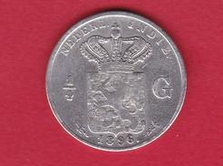 Indes Néerlandaises - 1/4 Gulden - Argent - 1896 - Inde
