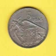 SPAIN  5 PESETAS 1957 (63) (KM # 786)---SCARCE DATE - [ 5] 1949-… : Kingdom