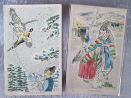 2 CARTES . BOY AND GIRL ET FAUCON - Cartes Postales