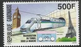 1994 Gabon Railway Train Channel Tunnel Eiffel Tower Set  Of 1 MNH - Coneshells