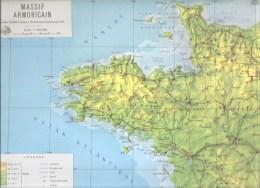 Massif Armoricain Carte Scolaire En Relief Par Robert Durand Professeur à L'école Normale De Tours - Afiches