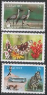 1991 Lesotho Tourism Zebras Birds Costumes Complete Set Of 3 MNH - Lesotho (1966-...)
