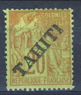 Tahiti 1893 N. 13 C. 20 Rosso Mattone Su Verde MH Catalogo € 100