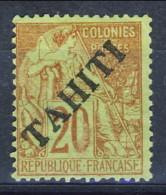 Tahiti 1893 N. 13 C. 20 Rosso Mattone Su Verde MNG (senza Gomma) Catalogo € 100