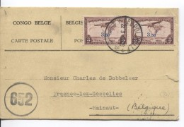Belgisch Congo Belge TPA 17(2) S/CP Avion C.Léopoldville 22/3/1945 Censure Des Com.652 V.Frasnes-lez-Gosselies PR3638 - Poste Aérienne: Lettres
