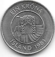 *iceland 1 Krona 1981  Km 27   Unc - Islande
