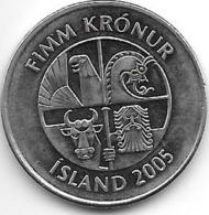 *iceland 5 Kronur  2005  Km 28a   Unc - Islande