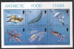 1994 British Antarctic Territory Antarctic Food Chain Whale Seal Albatross Complete Sheet Of 6 MNH - Britisches Antarktis-Territorium  (BAT)