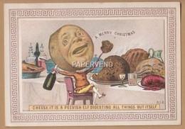 Victorian Xmas  Card De La Rue  Cheese Head Eating Xmas Pudding Egc44 - Unclassified