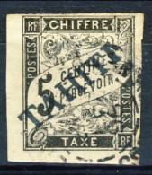 Tahiti 1893 Tasse N. 5 C.  5 Nero Usato Catalogo € 500 Sovrastampa Probabile FALSO