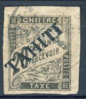Tahiti 1893 Tasse N. 8 C.  20 Nero Usato Catalogo € 500 Sovrastampa Probabile FALSO