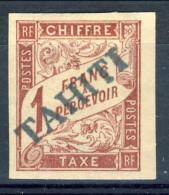 Tahiti 1893 Tasse N. 12 F. 1 Marrone Rossastro MH Catalogo € 1300 Sovrastampa Probabile FALSO