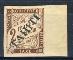 Tahiti 1893 Tasse N. 13 F. 2 Marrone MH Catalogo € 1300 Sovrastampa Probabile FALSO