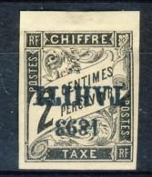 Tahiti 1893 Tasse N. 15 C.  2 Nero MH Sovrastampa Rovesciata Catalogo € 1200 Sovrastampa Probabile FALSO