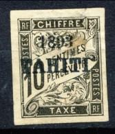 Tahiti 1893 Tasse N. 20 C.  10 Nero MH Catalogo € 680 Sovrastampa Probabile FALSO