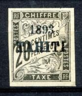 Tahiti 1893 Tasse N. 21 C.  20 Nero MH Catalogo € 650 Sovrastampa Probabile FALSO