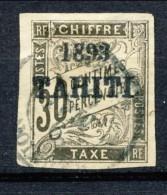 Tahiti 1893 Tasse N. 22 C.  30 Nero Usato Catalogo € 650 Sovrastampa Probabile FALSO
