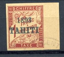 Tahiti 1893 Tasse N. 23 F. 1 Marrone Rossastro Bordo Di Foglio Usato  Catalogo € 650 Sovrastampa Probabile FALSO