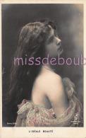PORTRAIT JEUNE FEMME - Cheveux Longs - Epaule Dénudée - Woman French Glamour - 1905 - 2 Scans - Women