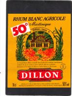 étiquette  Rhum Blanc Agricole  Martinique DILLON Fort De France - 50° - Rhum