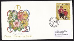 Mongolia: FDC First Day Cover To Netherlands, 1997, Princess Diana, Lady Di, Prince William & Harry (traces Of Use) - Mongolië