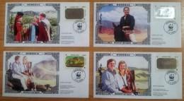 Mongolia: 4x Commemmorative Cover, 2006, Visit Prince Willem-Alexander & Maxima, Hologram Stamp Wild Horse, WWF, Rare - Mongolië