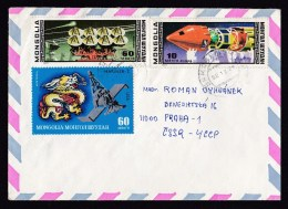 Mongolia: Airmail Cover To Czechoslovakia, 1982, 3 Stamps, Mariner Satellite, Rocket, Space, Dragon (traces Of Use) - Mongolië