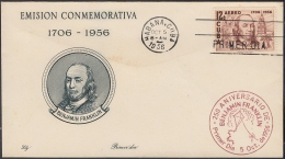 1956-FDC-86 CUBA REPUBLICA. 1956. FDC. US BENJAMIN FRANKLIN. USA. LILY COVER ELECTRICIDAD RAYO ELECTRIC ENERGY. - FDC