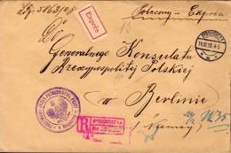 LETTRE RECOMMANDEE PAR EXPRES 1928 - ADRESSEE AU CONSULAT DE POLOGNE A BERLIN - CACHET POSTAL ARRIVEE BERLIN - - 1919-1939 Republik