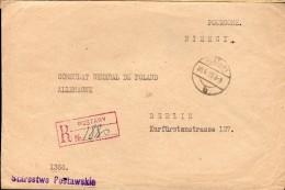 LETTRE RECOMMANDEE 1929 - POSTEE A POSTAWY - CACHET POSTAL ARRIVEE BERLIN - RECTO/VERSO - - 1919-1939 Republik