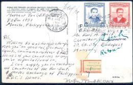1959 , FILIPINAS , TARJETA POSTAL CIRCULADA ENTRE MANILA Y BUDAPEST, TERRAZAS DE ARROZ DE IFUGAO , DEVUELTA A ORIGEN - Filipinas