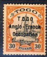 Togo 1914 N. 37 30 Pfenning Rosso E Nero Su Salmone Sovrastampato Anglo-French Occupation MNH Catalogo € 110