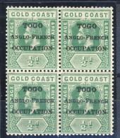 Togo 1916 N. 72 Mezzo Penny Verde Quartina  Sovrastampato Togo Anglo-French Occupation  MNH Catalogo € 11
