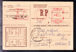 CARTE RECIPISSE DE 1972 DES ASSURANCES DU CREDIT DE NAMUR à WATERLOO, (défraichie). (6AL564) - Franking Machines