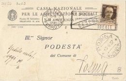 """1937 Vicenza Ferovia Targhetta  """"Cesenatico La Spiaggia Ideale"""" Su Cartolina Cassa Naz.le Per Le Assicurazioni Sociali - Storia Postale"""