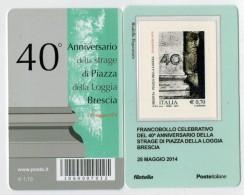 TESSERA  FILATELICA   2014  40° ANN. STRAGE  PIAZZA  DELLA  LOGGIA            COD. BARRE  7012 - 1946-.. République