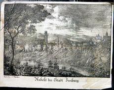 SUISSE SWISS VUE DE FREIBURG FRIBURG GRAVURE SUR BOIS XYLOGRAPHIE 19° - Prints & Engravings