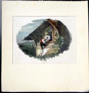 SUISSE SWISS GRAVURE ROMANTIQUE LA VEILLEE  1823 COULEURS POSTERIEURES - Estampes & Gravures