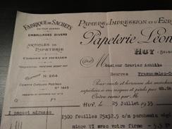 Facture : Papeterie Léonet à Huy Papiers D'impression Et D'écriture-Fabrique De Sachets.-1935- - Printing & Stationeries