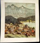 SUISSE SWISS EAU FORTE D'UNE VILLE SUISSE  A SITUER   COLORIS D'EPOQUE UN LEGER  PLI - Prints & Engravings