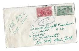 Lettre Par Avion Adressé Au Général Eisenhower  New York - 1921-1960: Modern Period