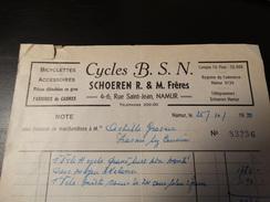Facture :CYCLES B.S.N (Shoeren R. Et M. Frères ) à Namur.-1950- - Sports & Tourisme