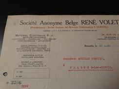 Facture :Société Anonyme Belge René Volet - Matériel électrique à Bruxelles.-1925- - Electricity & Gas