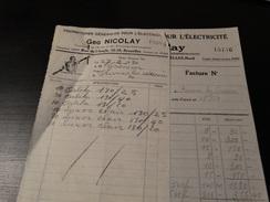 Facture :Fournitures Générales Pour L'électricité.GEO.Nicolay à Bruxelles-Nord.-1930- - Electricity & Gas